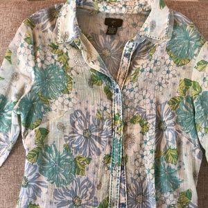 Anthropologie Floral Gauze Shirt